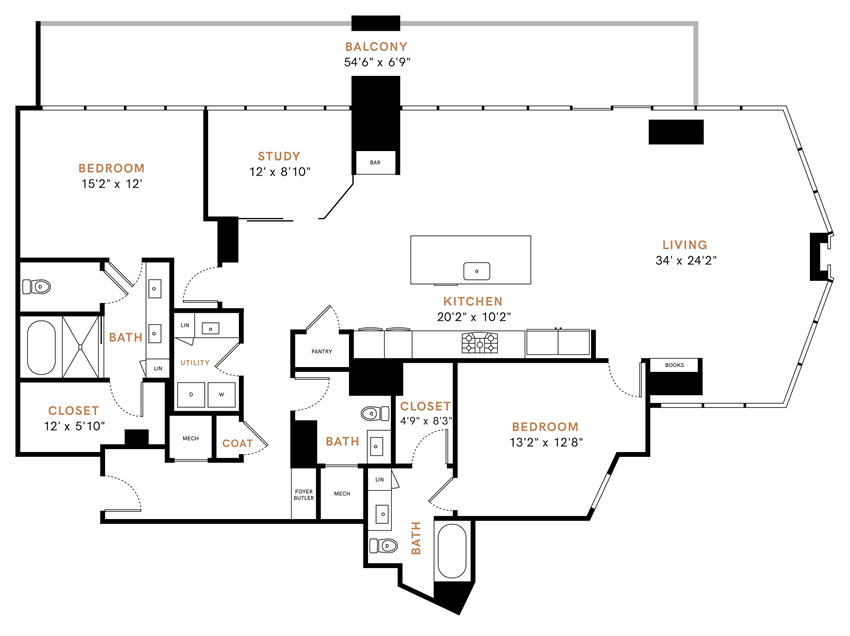 Two bedroom, two and a half bathrooms, penthouse,  living room, dining room, kitchen, two walk-in closet, laundry room, utility closet, coat closet, and pantry. 2213 square feet PH8 floor plan.