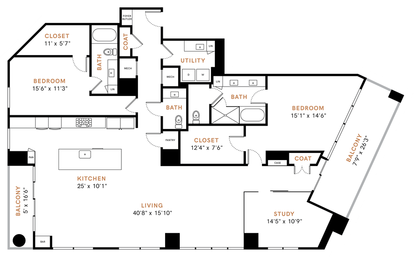 Two bedroom, two and a half bathrooms, penthouse,  living room, dining room, kitchen, two walk-in closet, laundry room, utility closet, coat closet, and pantry. 2507 square feet PH9 floor plan.