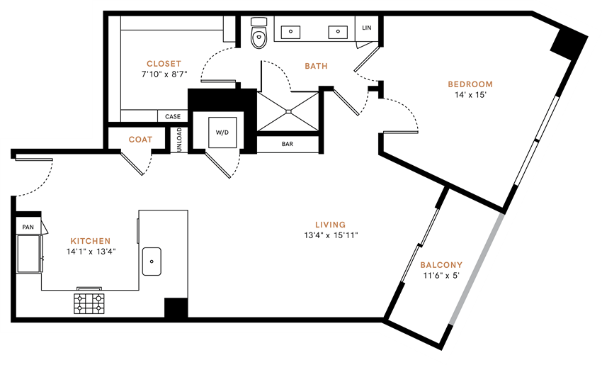 One bedroom, one bathroom, one walk-in closet, laundry room, hvac room, pantry, living room, kitchen A4 floor plan, 914 square feet.