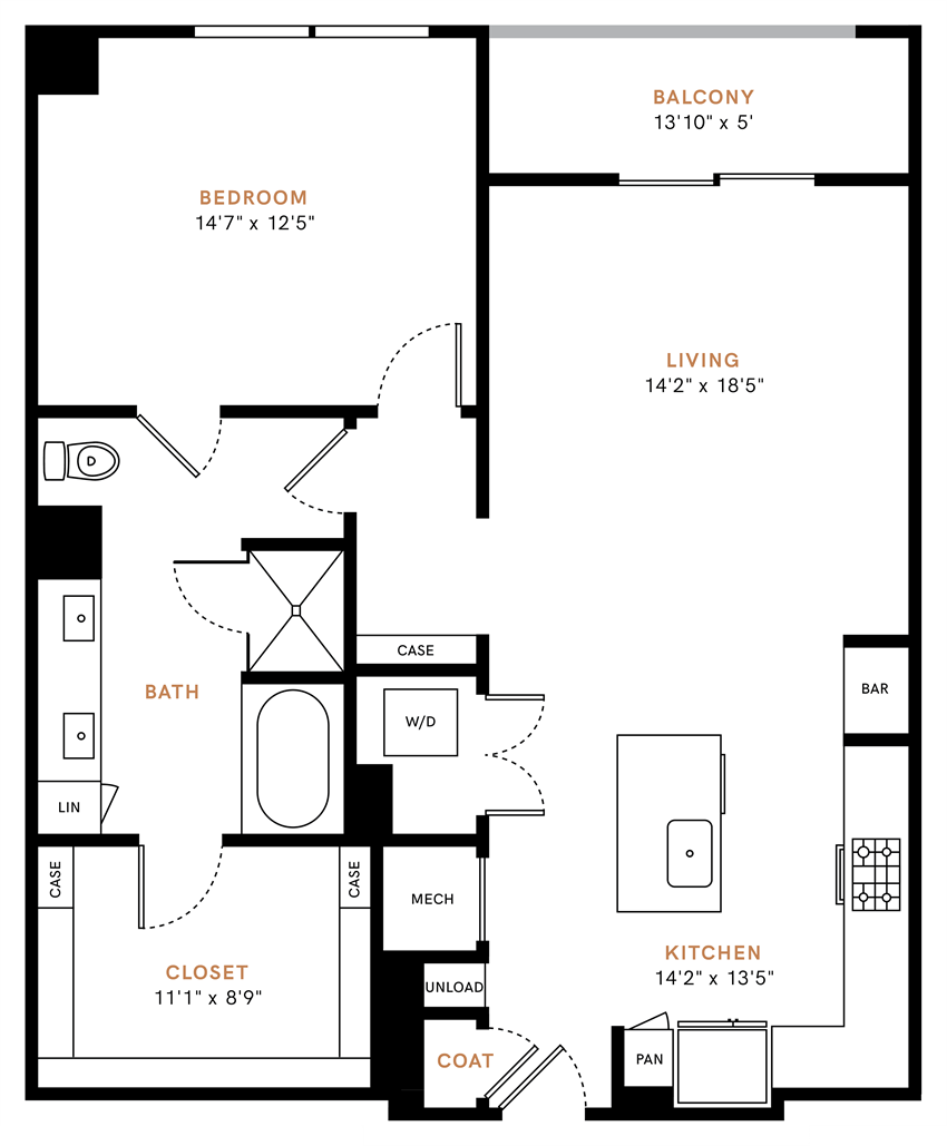 One bedroom, one bathroom, one walk-in closet, laundry room, hvac room, pantry, living room, kitchen A6 floor plan, 1036 square feet.
