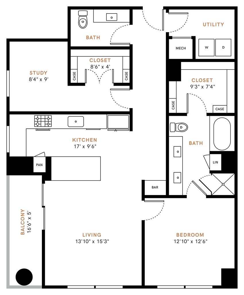 One bedroom one and a half bath, kitchen, kitchen pantry, living room, dining room, laundry room, one closet, A8 floor plan, 1243 square feet.