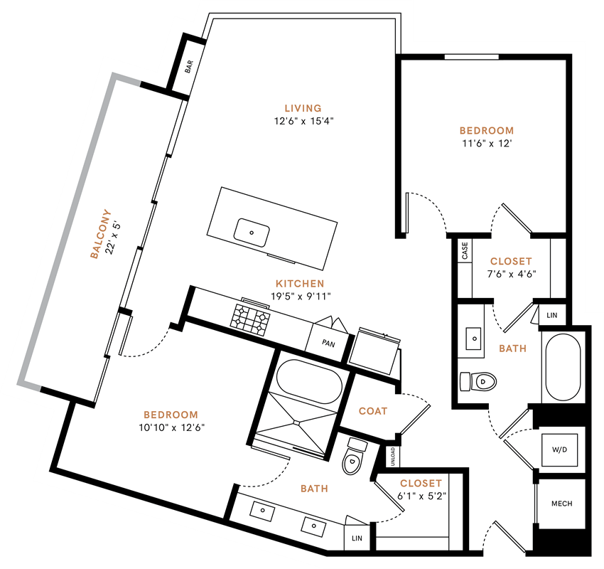 Two bedroom, two bath, kitchen, pantry, coat closet, living/dining room, two walk-in closets, linen closet and laundry room. 1150 square feet B1 floor plan.