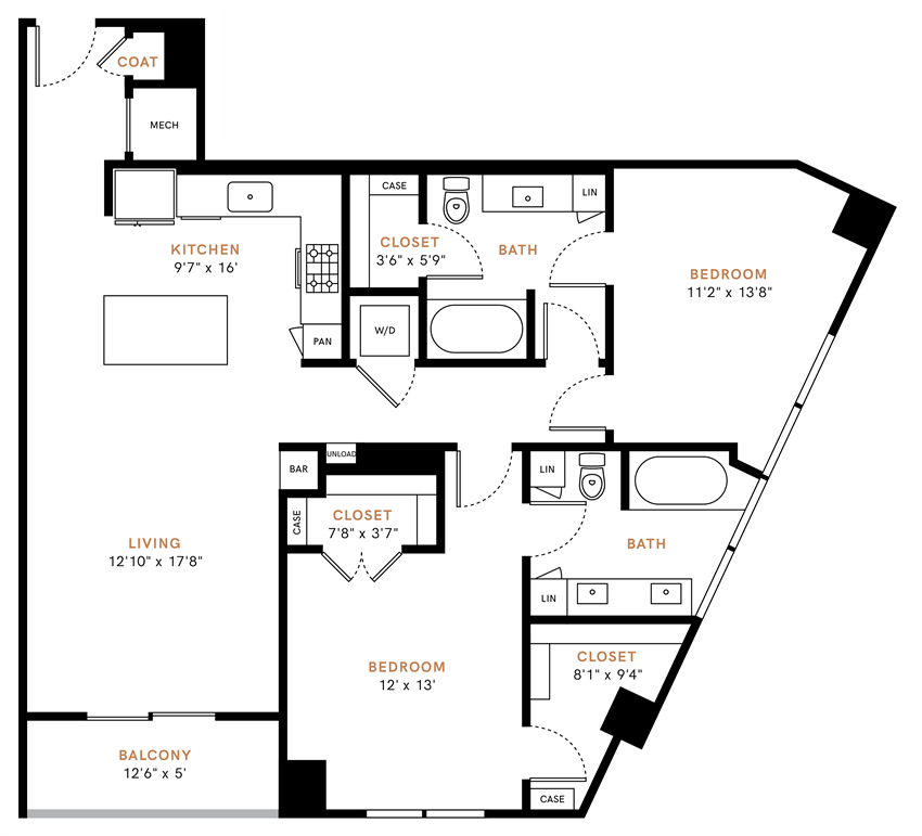 Two bedroom, two bath, kitchen, pantry, coat closet, living/dining room, two walk in closets, linen closet and laundry room. 1253 square feet B2 floor plan.