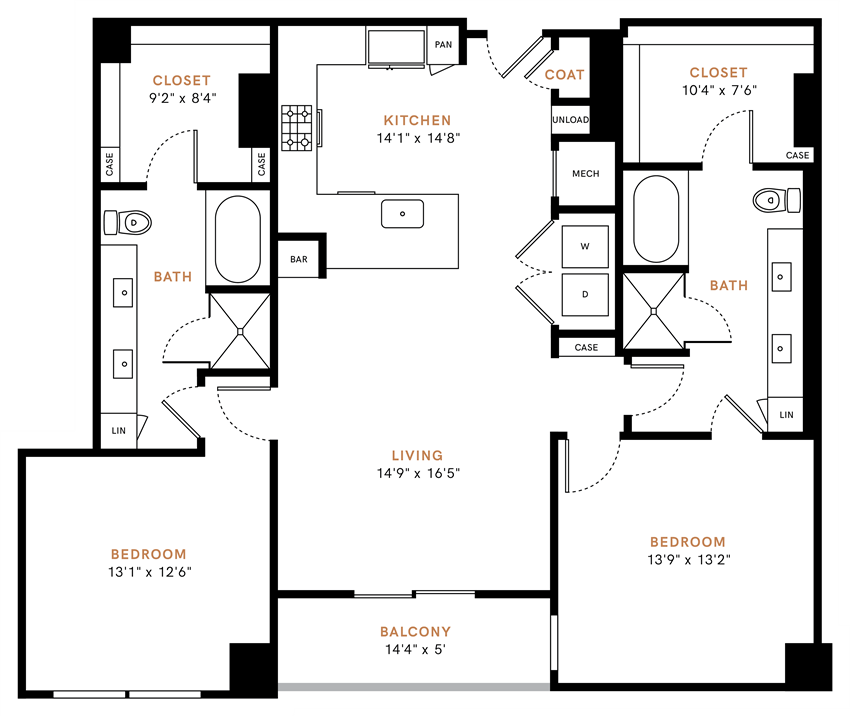 Two bedroom, two bath, kitchen, pantry, coat closet, living/dining room, two walk in closets, linen closet and laundry room. 1401 square feet B3 floor plan.