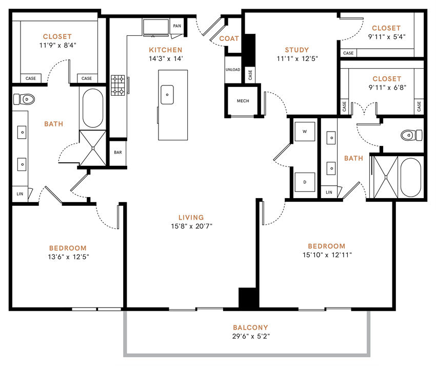 Two bedroom, two bathrooms,  living room, dining room, kitchen, two walk-in closet, laundry room, utility closet, coat closet, and pantry. 1815 square feet B7 floor plan.