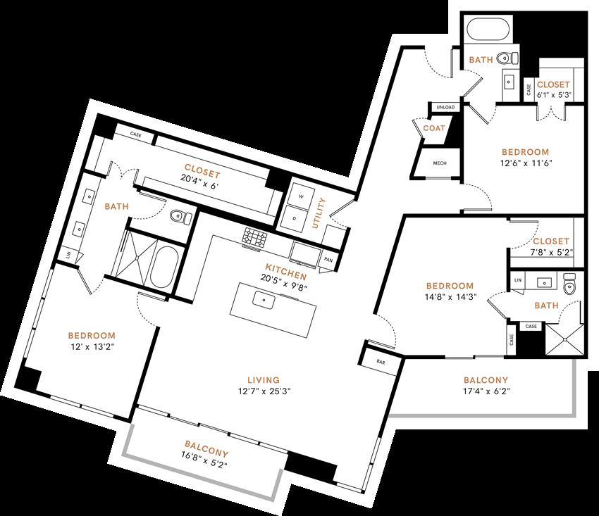 Three bedroom, Three bathroom, Kitchen, dining room, living room, laundry room, patio with storage, 3 walk in closets. C1 floor plan, 1808 square feet.