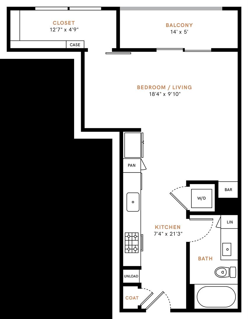 Studio/ one bathroom, kitchen, walk in closet, coat closet, laundry room, E1 floor plan, 583 square feet.