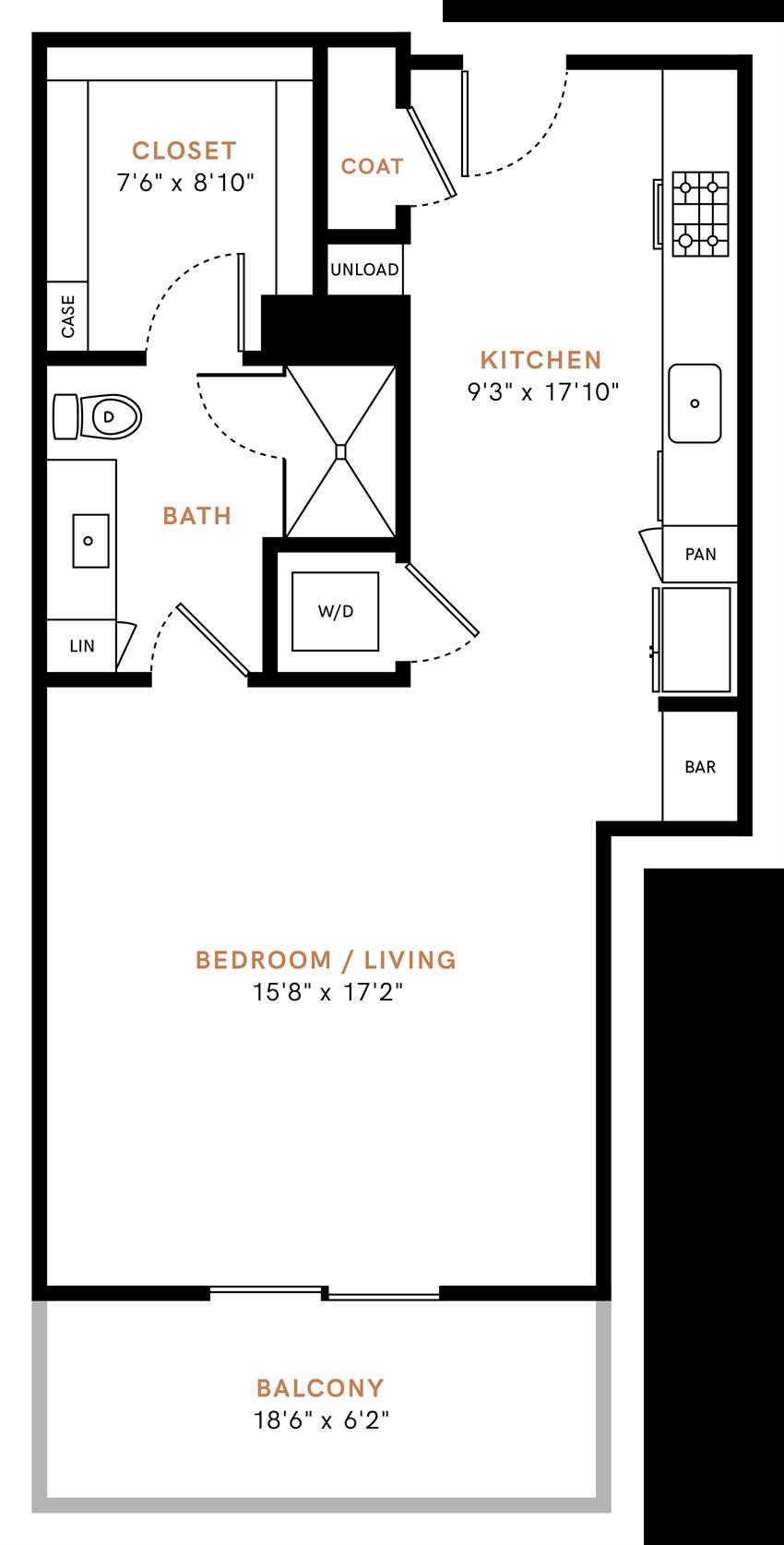 Studio/ one bathroom, kitchen, walk-in closet, coat closet, laundry room, S2 floor plan, 696 square feet.
