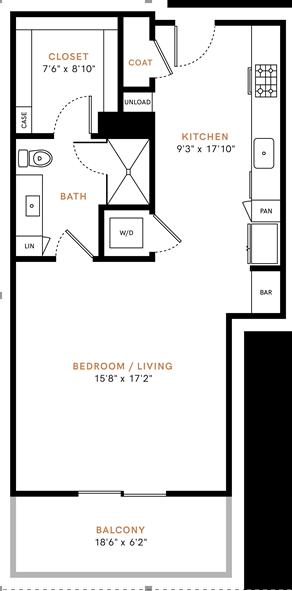Studio/ one bathroom, kitchen, walk-in closet, coat closet, laundry room, S2P floor plan, 696 square feet.