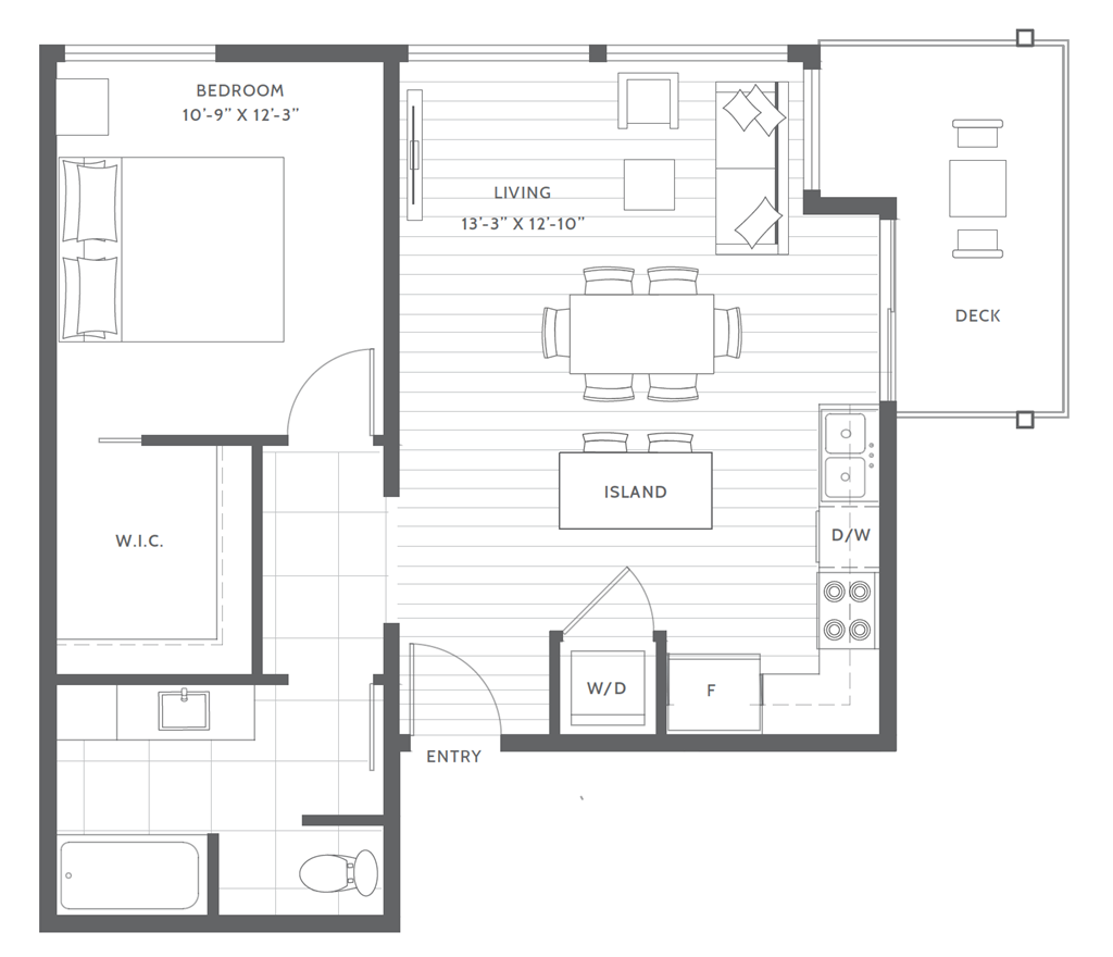 One Bed B3 Floor Plan at Harbor Heights, Olympia, WA
