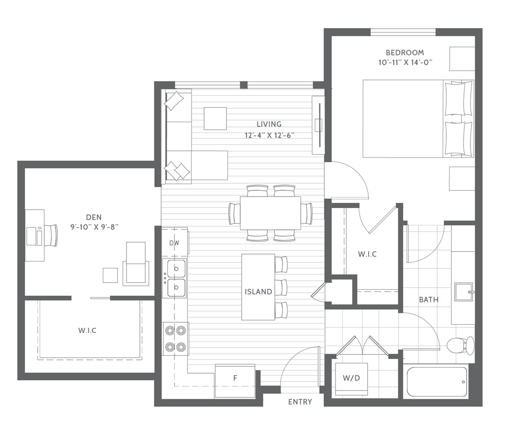 One Bed with Den C2 Floor Plan at Harbor Heights, Olympia, Washington