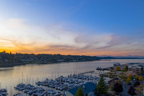 Enjoy sweeping views from the rooftop patio at Harbor Heights, Olympia, 98501
