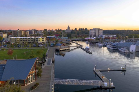 Stroll the boardwalk and Percival Landing at Harbor Heights, Olympia, WA, 98501