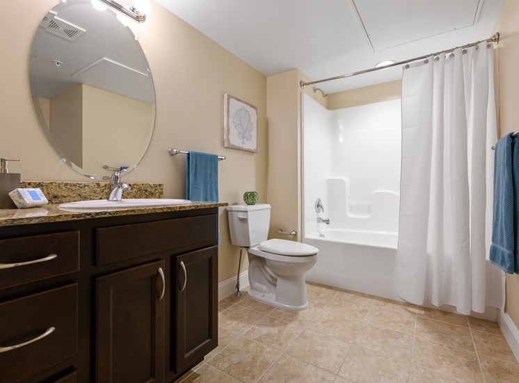 Large bathroom with bathtub in apartment in West Chester, PA