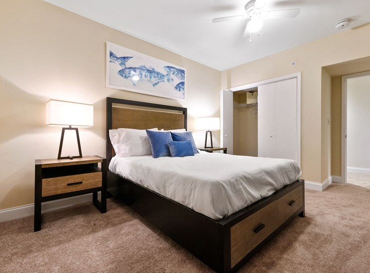 Furnished large master bedroom with spacious closets at Market Street Flats