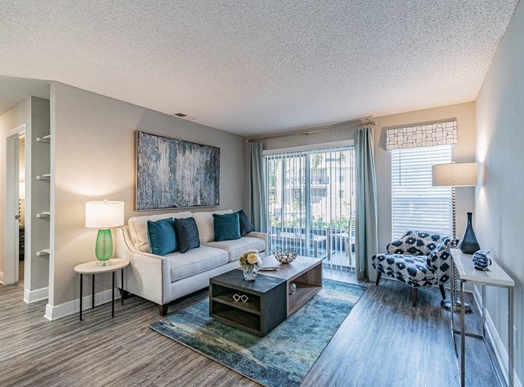 Spacious Living Room With Private Balcony at Enclave on East, Largo, FL, 33771