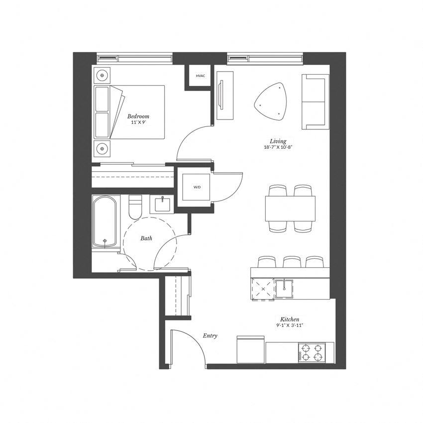 1 Bedroom - Plan 1B