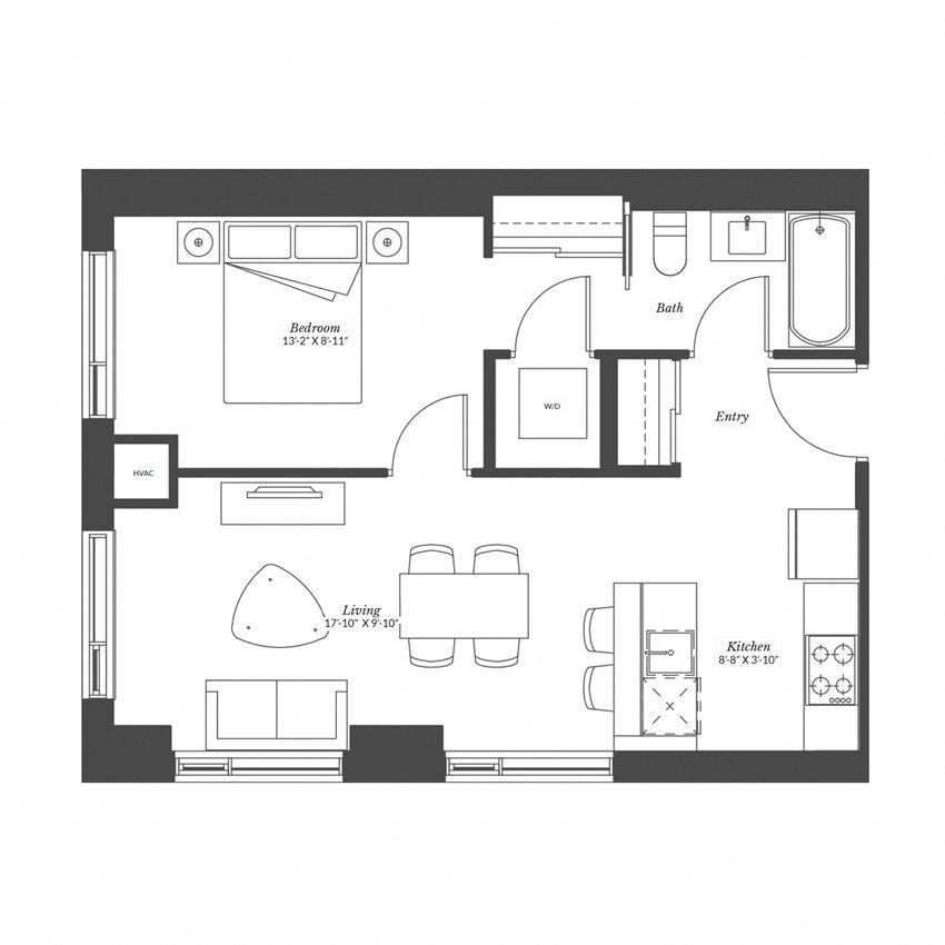 1 Bedroom - Plan 1A