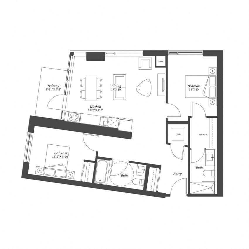 2 Bedroom - Plan 2A/XL