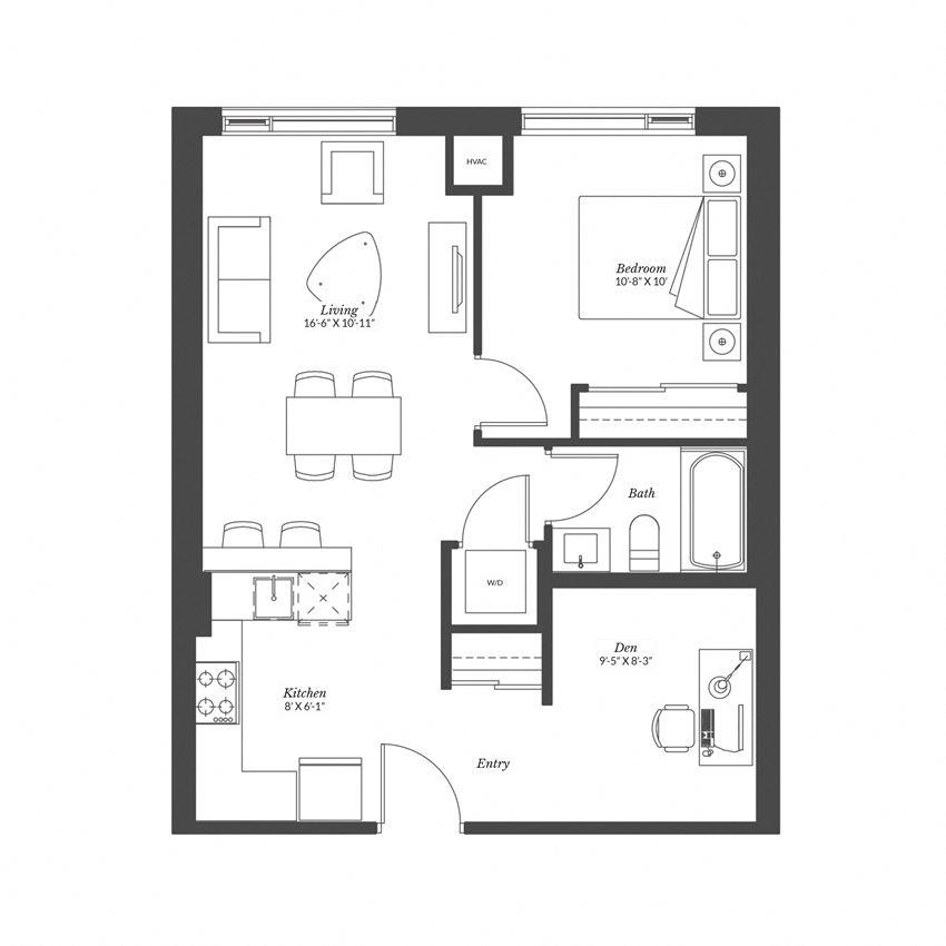 1 Bedroom + Den - Plan 1.5A
