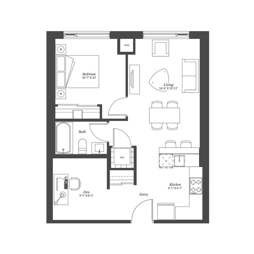 1 Bedroom + Den - Plan 1.5B