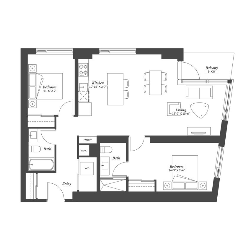 2 Bedroom - Plan 2B/XL