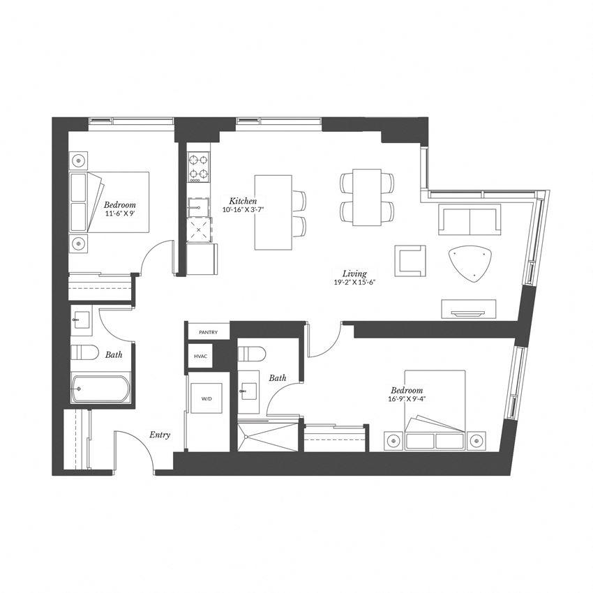 2 Bedroom - Plan 2B