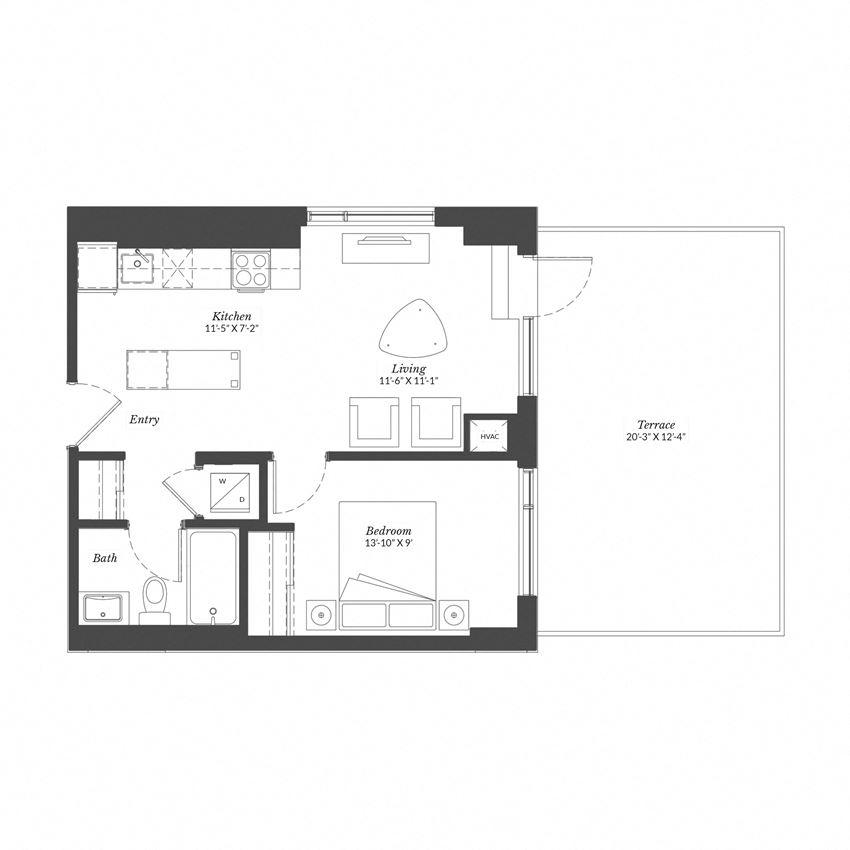 1 Bed - Plan 1F/XL