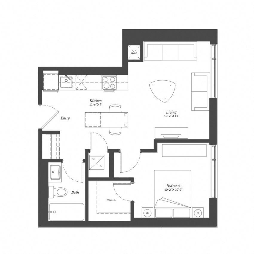 1 Bed - Plan 1K