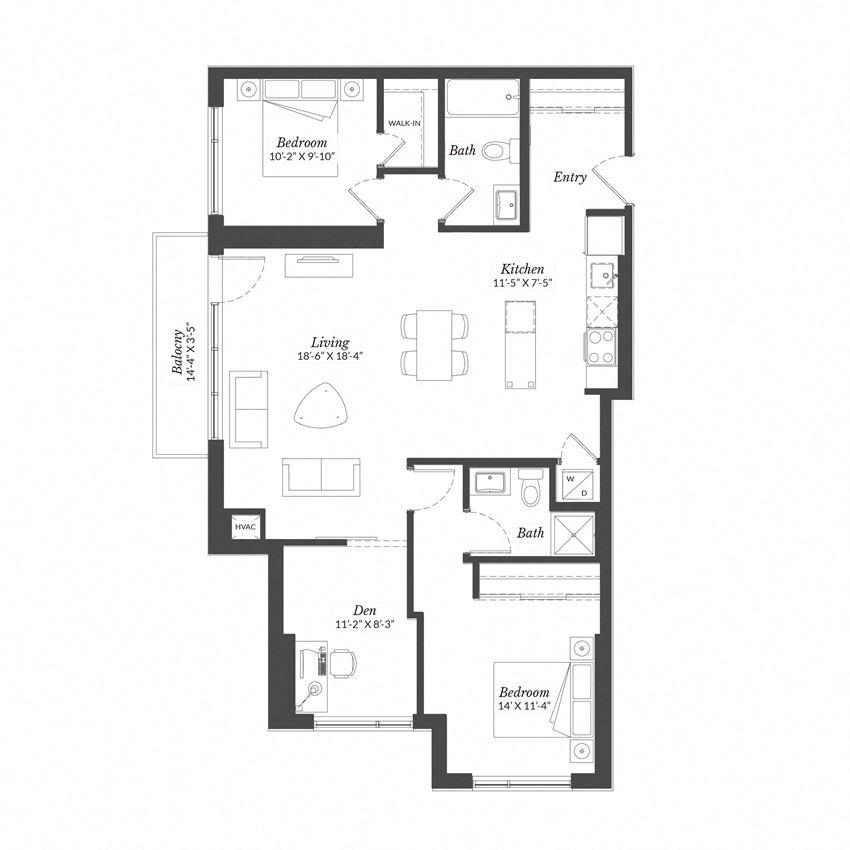 2 Bed + Den - Plan PH2.5A