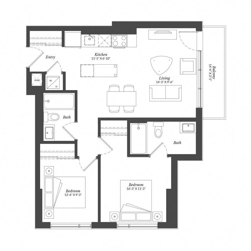 2 Bed - Plan 2D