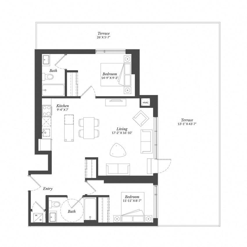 2 Bed - Plan 2F/XL