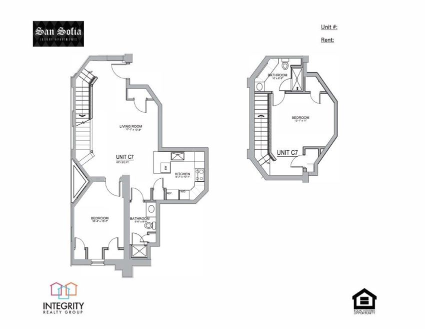C7 Floor Plan at San Sofia Luxury Apartments , Cleveland, Integrity Realty LLC, OH, 44113
