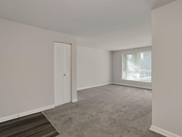 Apartment entryway into living room