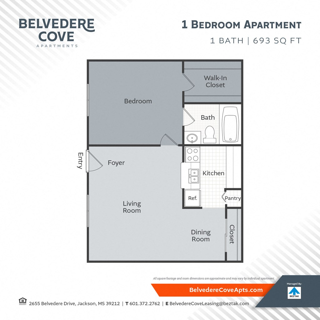 1 Bedroom 693 Floor Plan at Belvedere Cove Apartments, Jackson, Mississippi