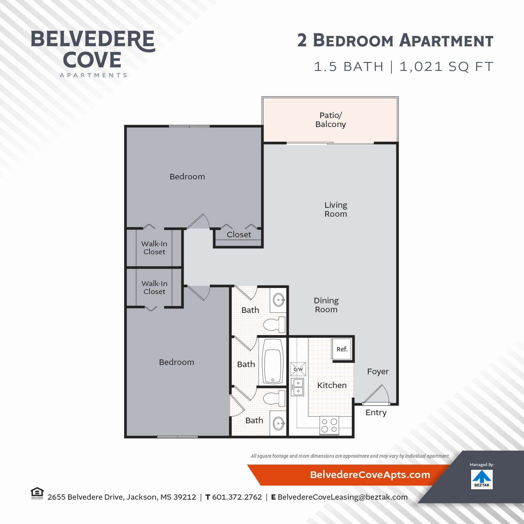2 Bedroom 1021 Floor Plan at Belvedere Cove Apartments, Jackson, MS, 39212
