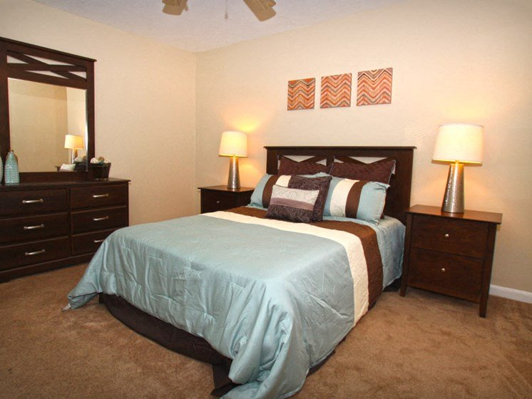 Cozy Bedroom With Ceiling Fan at Briarwood Park Apartments, Jackson, Mississippi