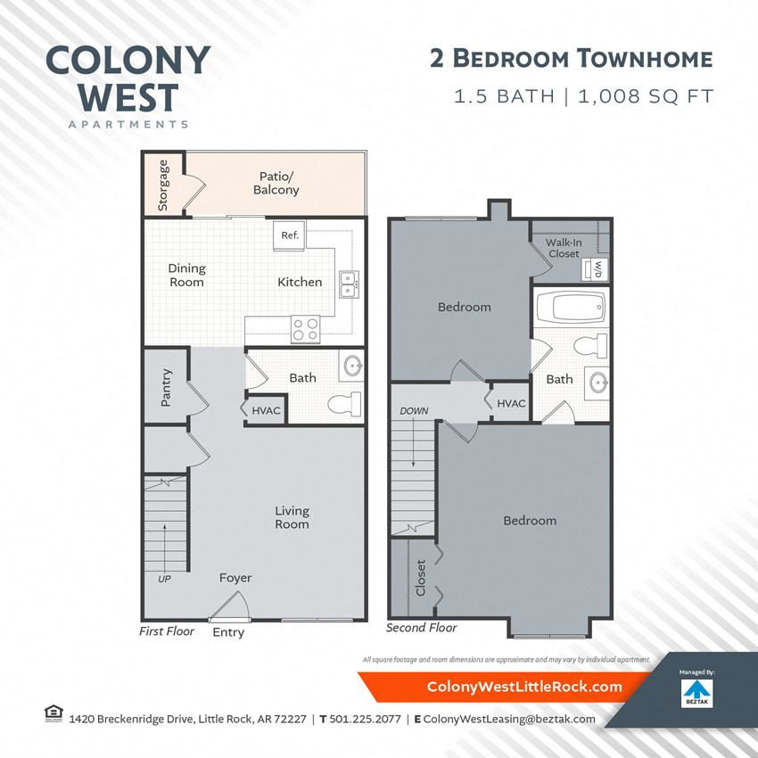 2 Bedroom Town Home - 1008 Floor Plan at Colony West Apartments, Little Rock