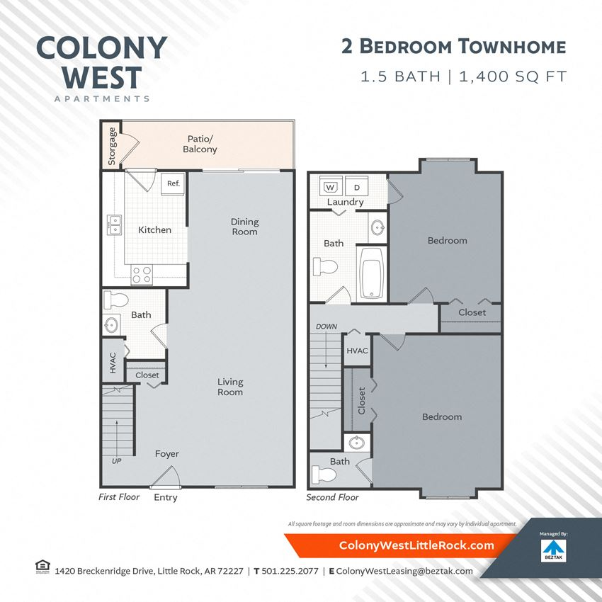 2 Bedroom Town Home - 1400 Floor Plan at Colony West Apartments, Arkansas
