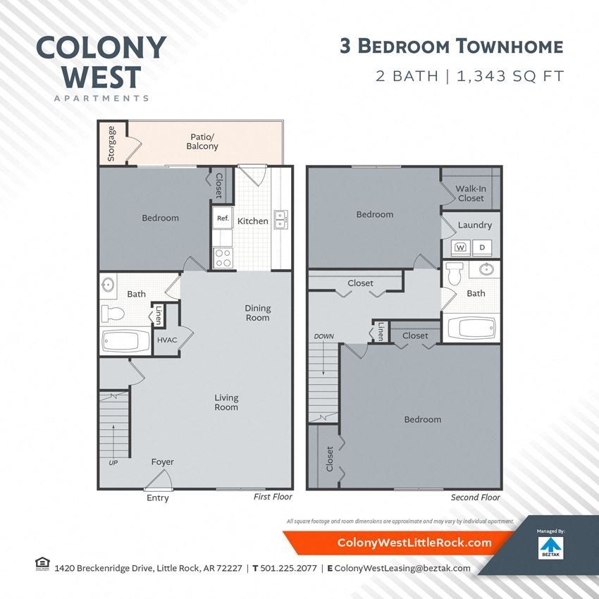 3 Bedroom Town Home - 1343 Floor Plan at Colony West Apartments, Little Rock, AR, 72227