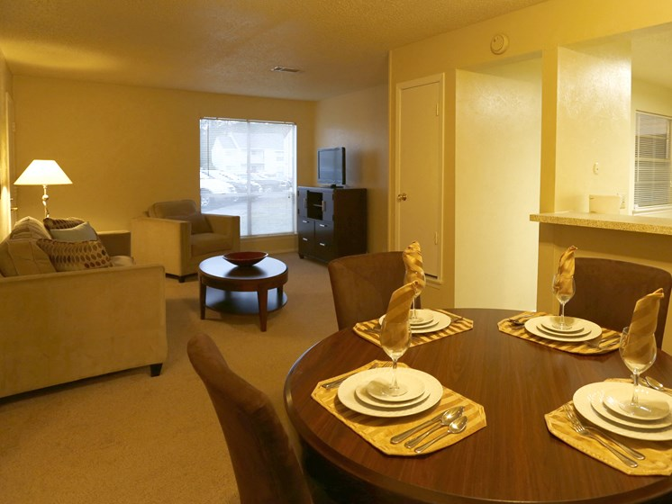 Warm Living And Dining Room at Towne Oaks Apartments, Little Rock, Arkansas