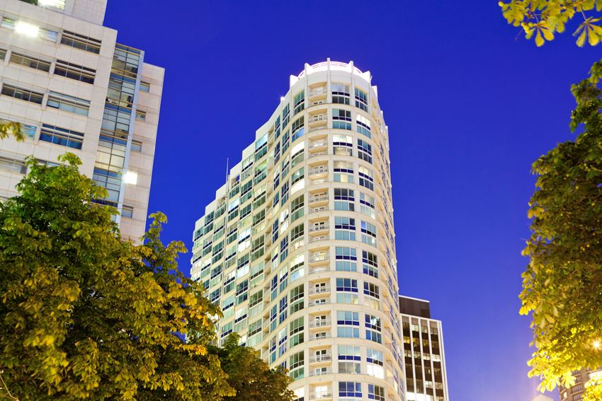 Met Tower Apartments Building Exterior Nighttime