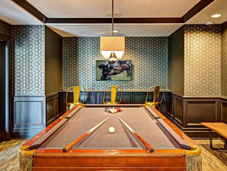 Met Tower Apartments Pool Table and Television