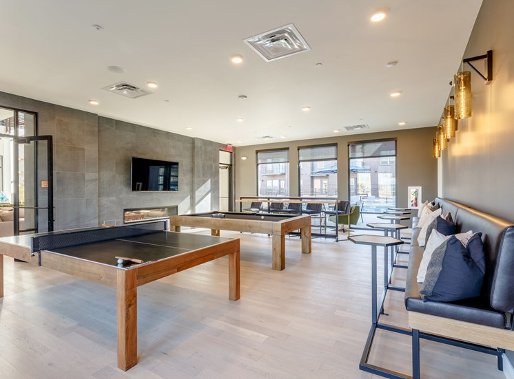 Community Game Room at Railway Flats Apartments, Loveland, CO, 80538