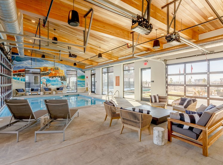 Swimming Pool And Relaxing Area at Railway Flats Apartments, Loveland, 80538