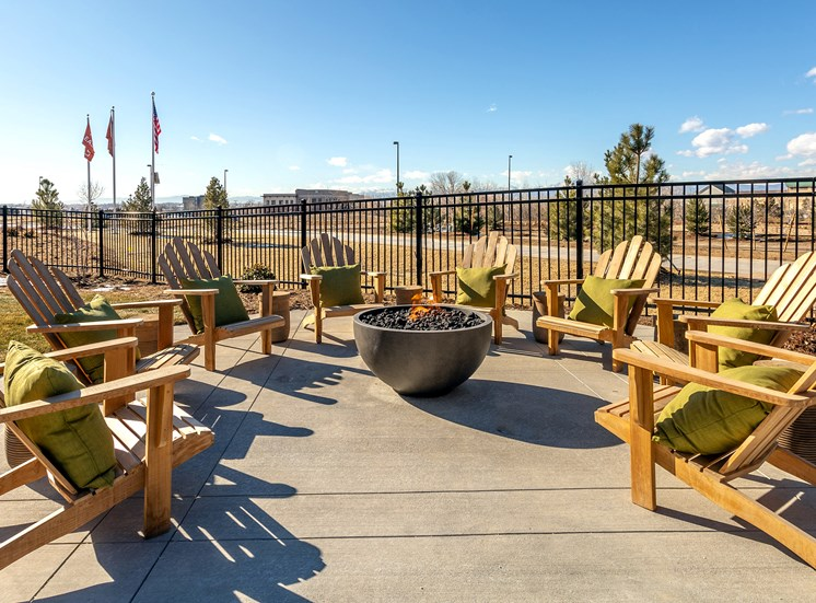 Outdoor Patio at Railway Flats Apartments, Loveland, Colorado