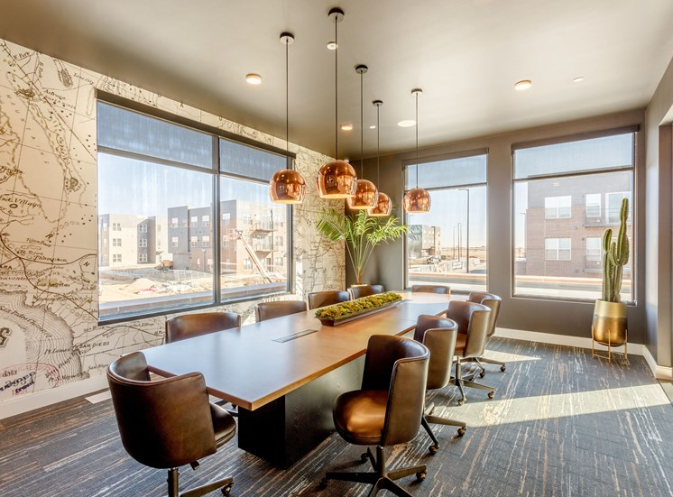 Brightly Decorated Office Area at Railway Flats Apartments, Loveland, CO, 80538