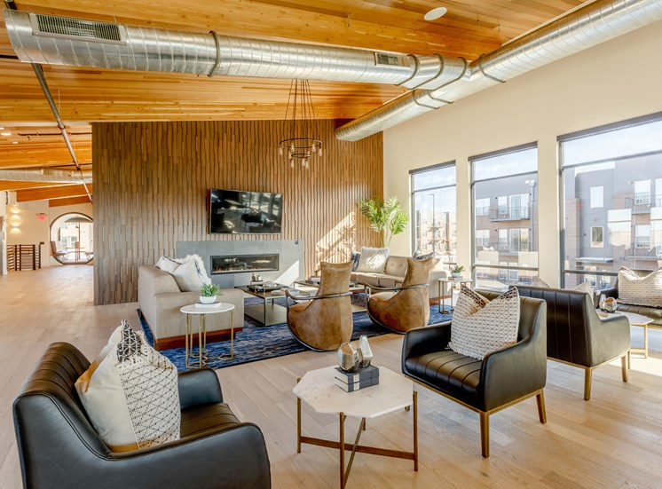 Living Room With Expansive Window at Railway Flats Apartments, Loveland, CO