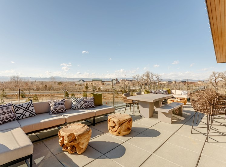 Outdoor Living Area Including Bbq'S And Fire Pits at Railway Flats Apartments, Loveland