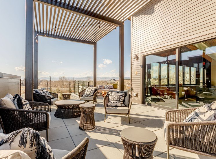 Outdoor Relaxation area at Railway Flats Apartments, Colorado
